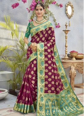 Maroon and Sea Green Embroidered Work Trendy Classic Saree
