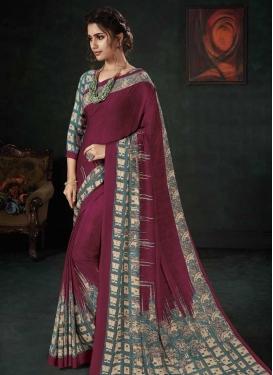 Maroon and Teal Crepe Silk Designer Traditional Saree