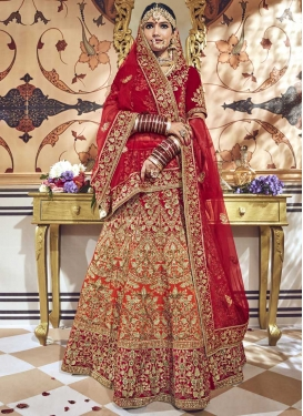 Maroon and Tomato Beads Work Designer Classic Lehenga Choli