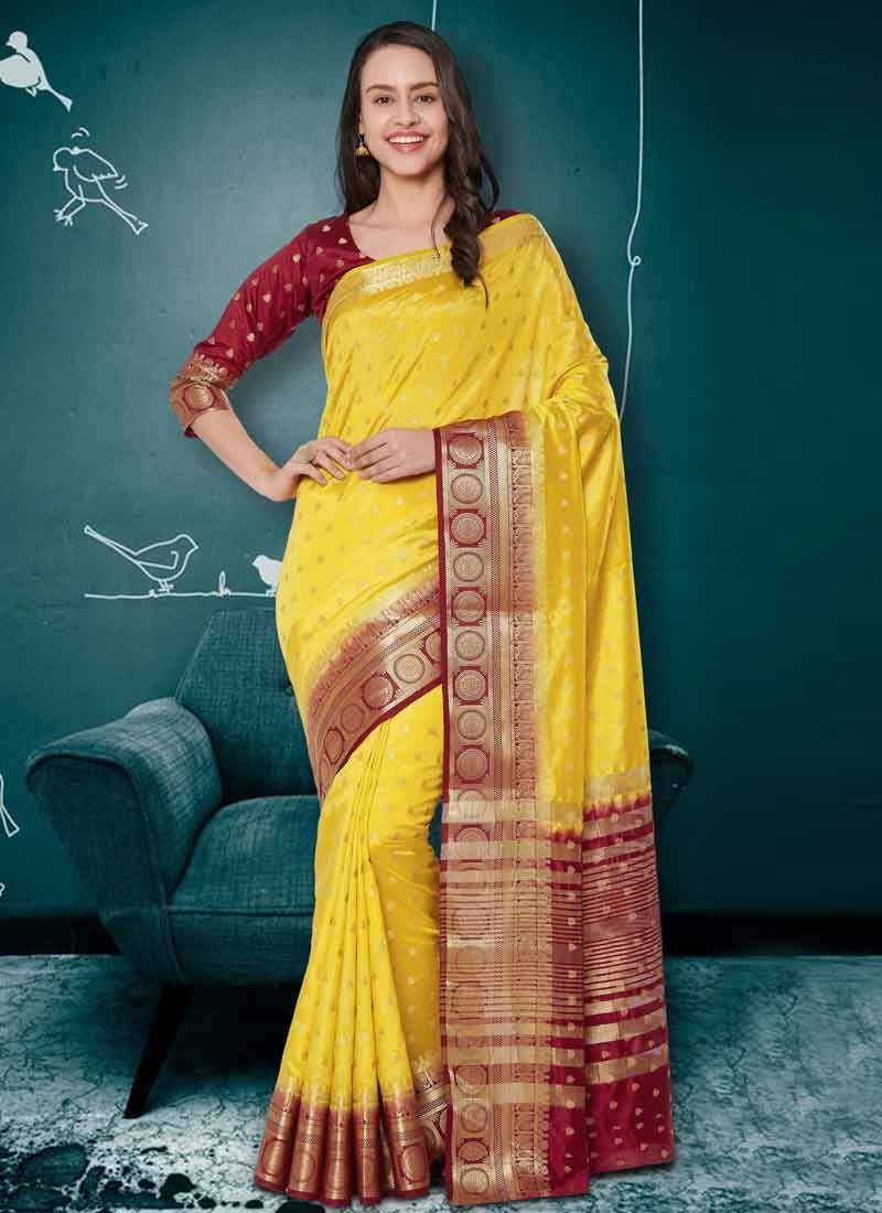 Maroon and Yellow Contemporary Style Saree