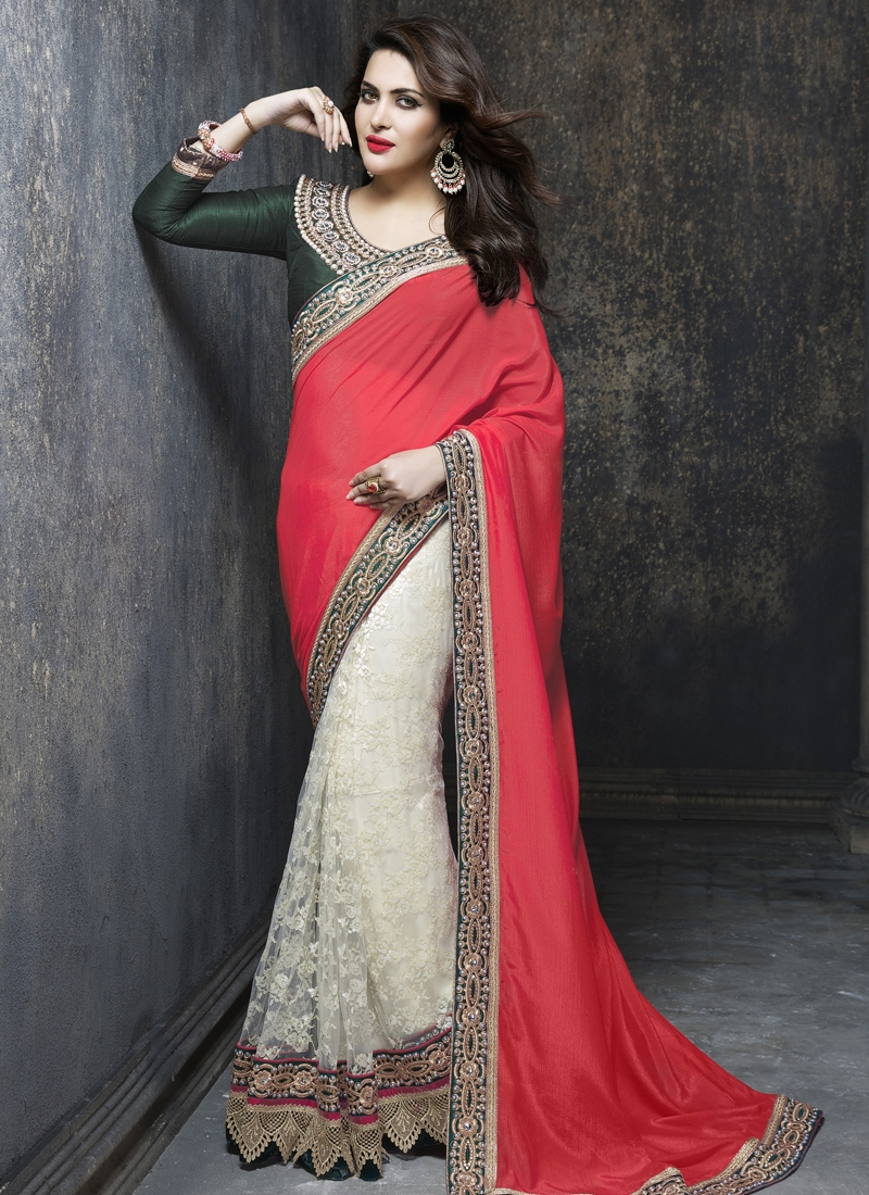 Marvelous Beads And Resham Work Half N Half Wedding Saree