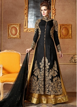 Marvelous Black and Gold Silk Kameez Style Lehenga Choli