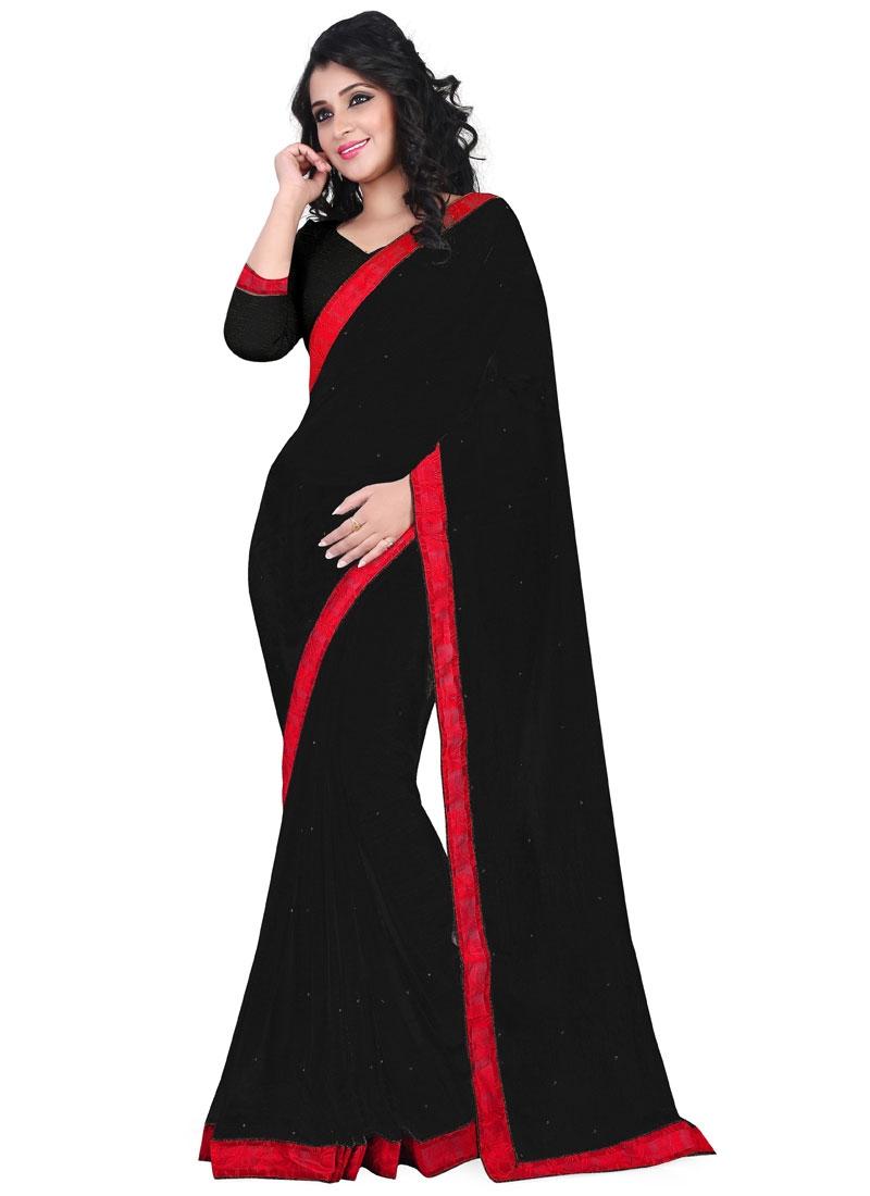 Marvelous Black Color Faux Chiffon Casual Saree