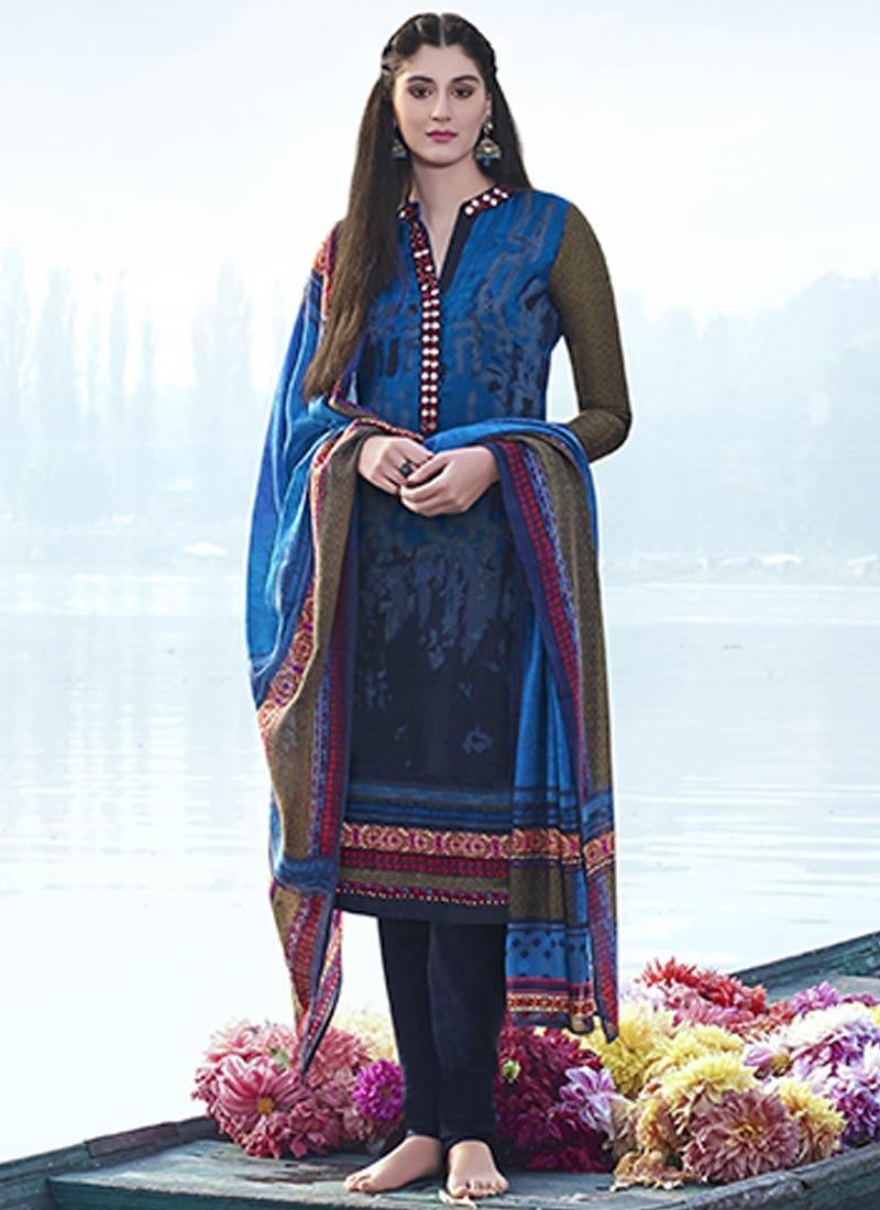 Marvelous Blue Color Digital Print Work Churidar Suit