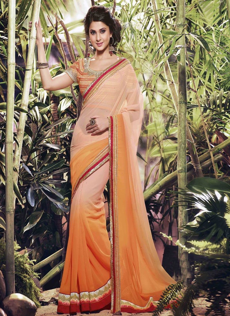 Marvelous Coral Color Jennifer Winget Party Wear Saree