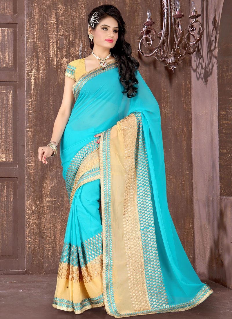 Marvelous Faux Georgette Stone Work Party Wear Saree