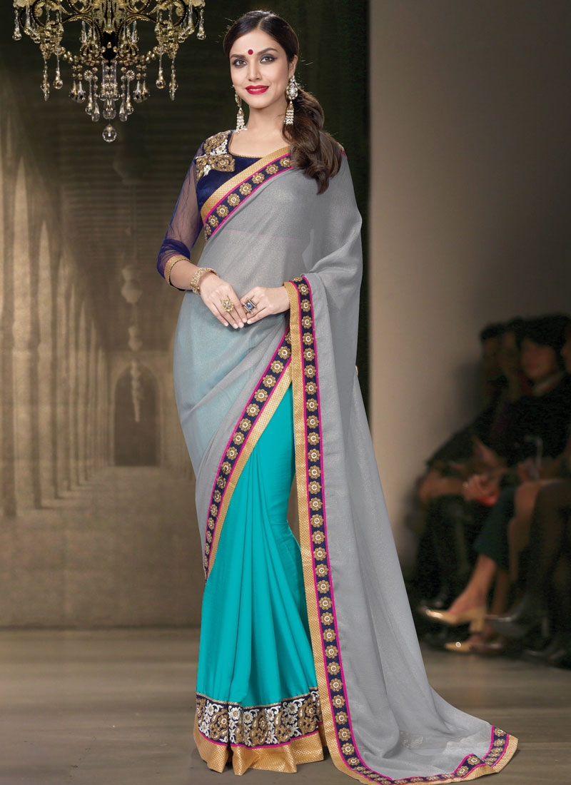 Marvelous Grey Color Patch Border Work Half N Half Designer Saree