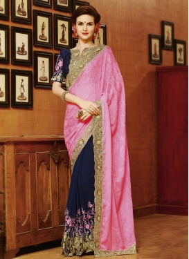 Marvelous Jacquard Lace Work Half N Half Designer Saree