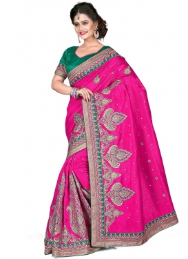 Marvelous Lace And Booti Work Wedding Saree