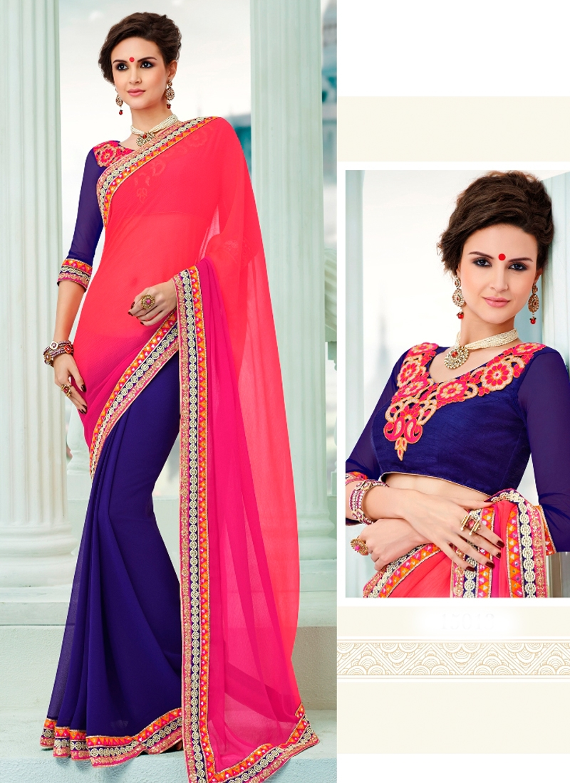 Marvelous Lace And Mirror Work Half N Half Designer Saree