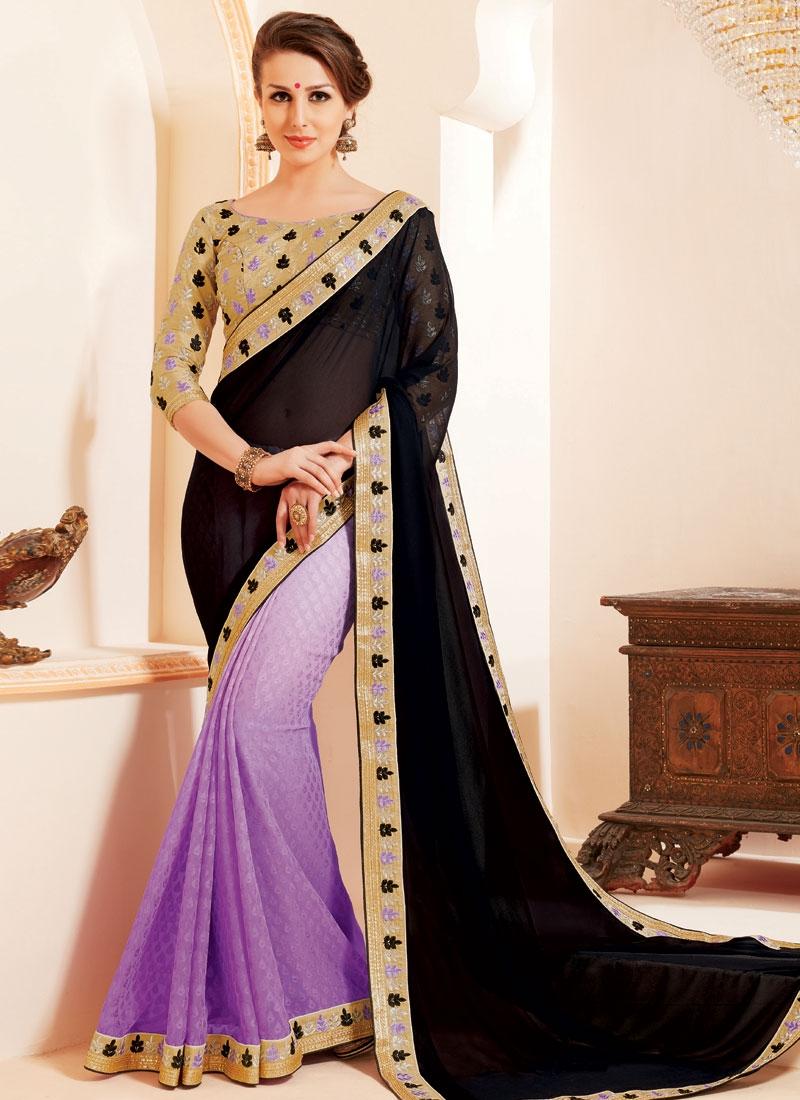 Marvelous Lavender Color Half N Half Party Wear Saree
