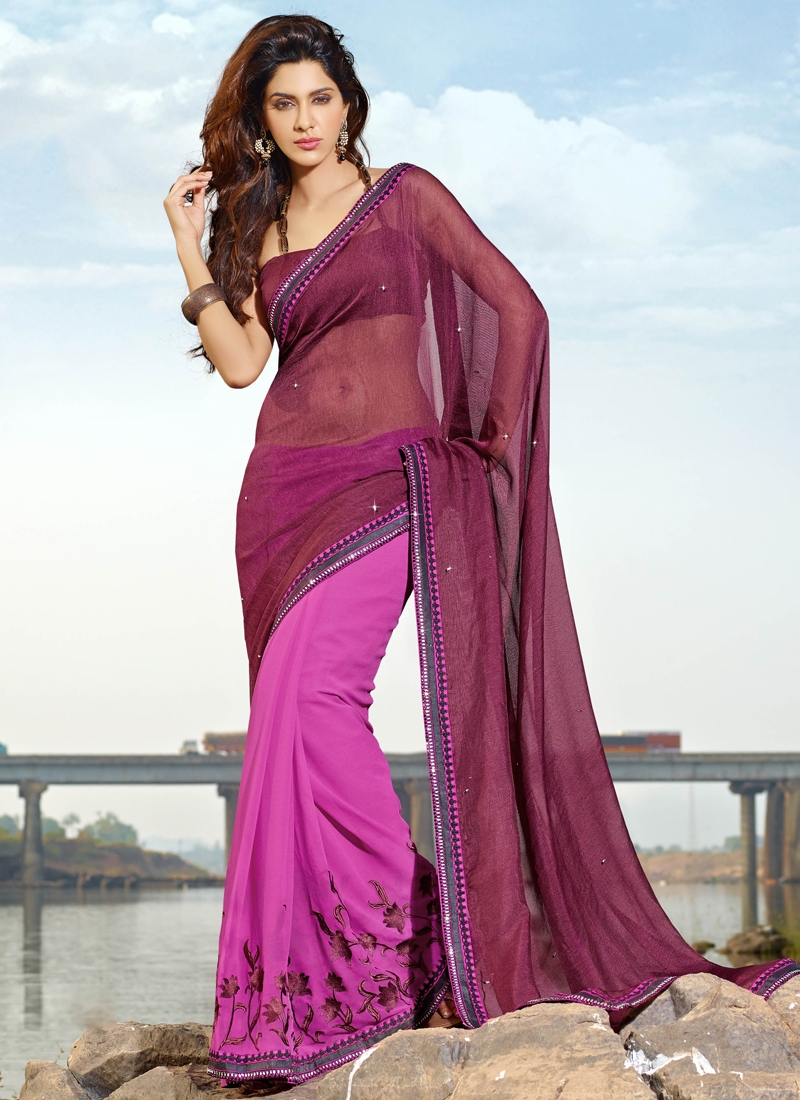 Marvelous Net And Georgette Half N Half Saree