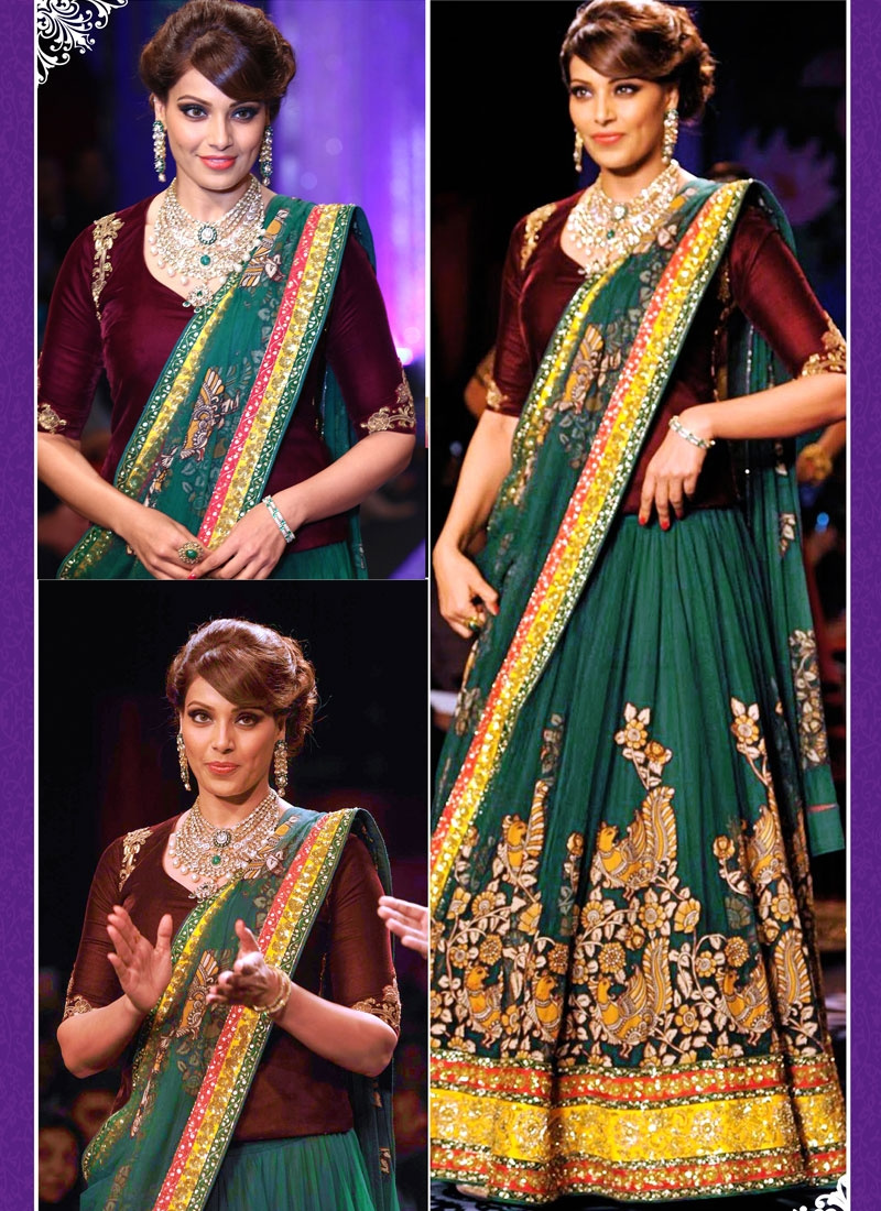 Marvelous Patch Border Work Bipasha Basu Designer Lehenga Choli