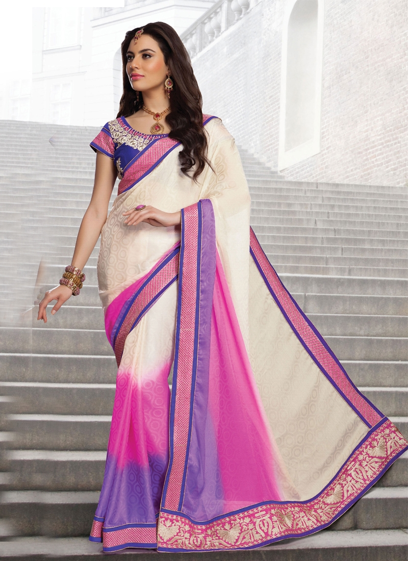Marvelous Patch Work Jacquard Party Wear Saree