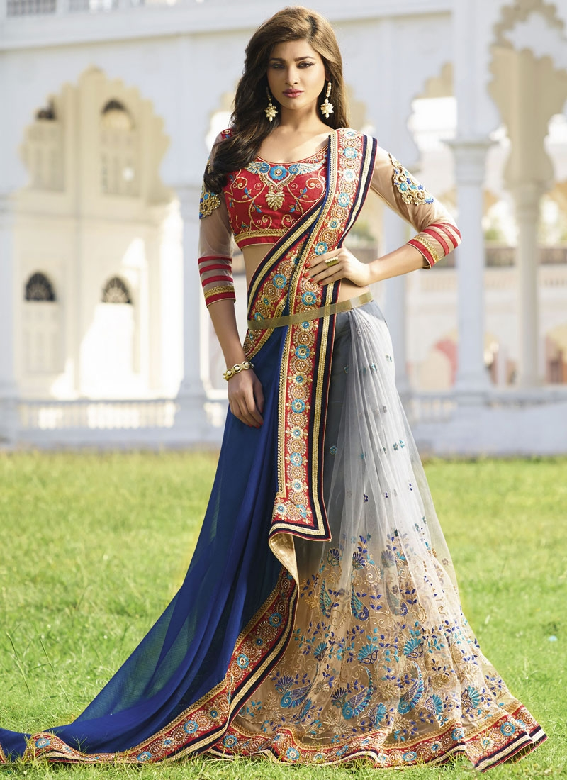 Marvelous Pure Chiffon And Net Half N Half Wedding Saree