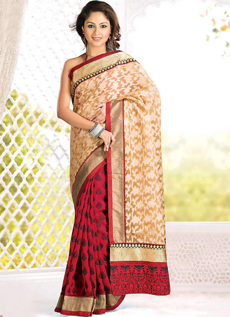Marvelous Red And Peach Half N Half Saree
