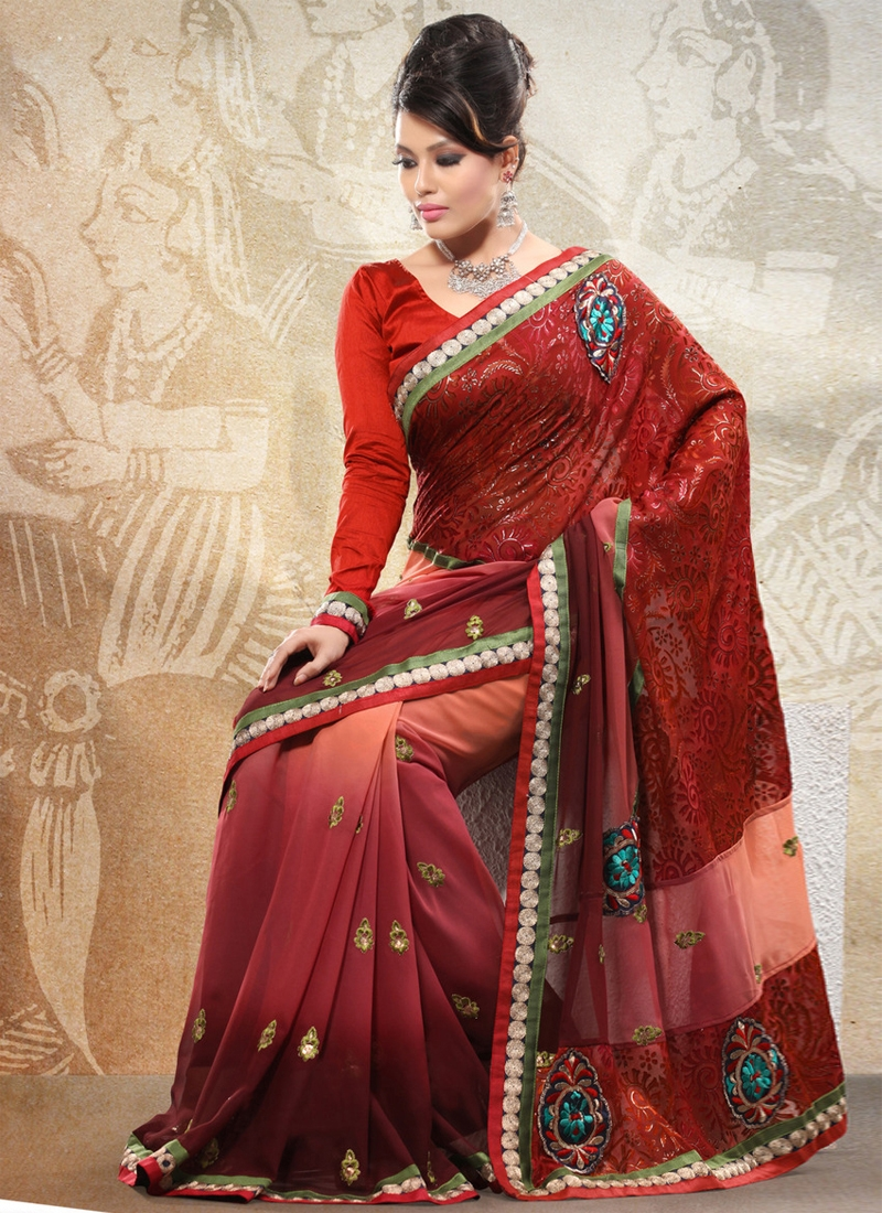 Marvelous Resham Work Georgette Casual Saree