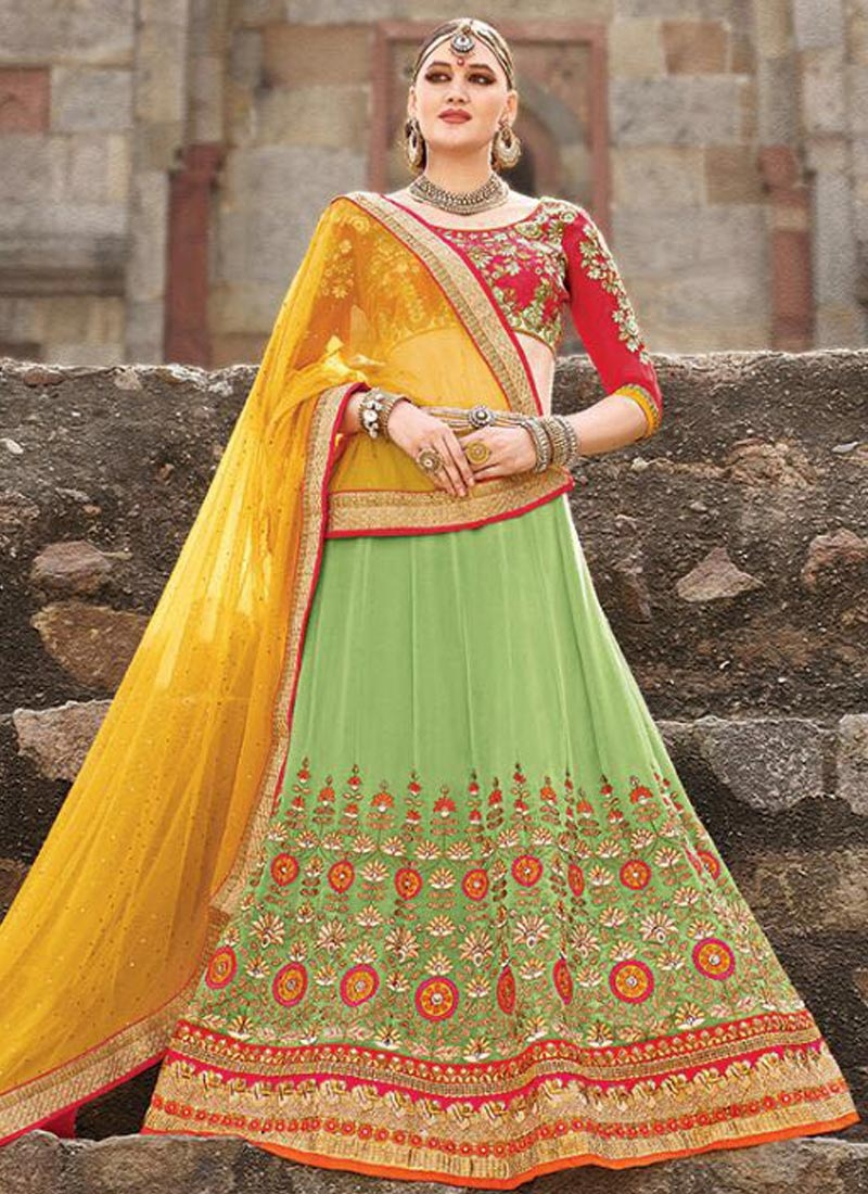 Marvelous Viscose Resham Work Wedding Lehenga Choli