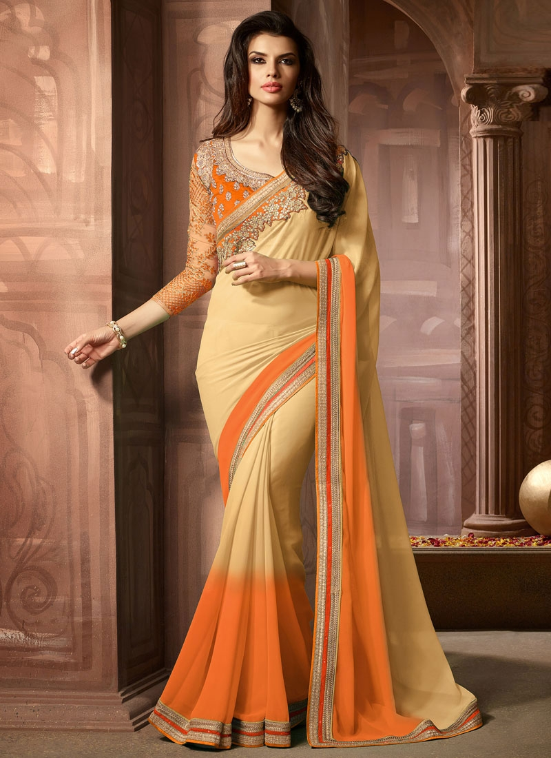 Masterly Beige Color Faux Georgette Party Wear Saree