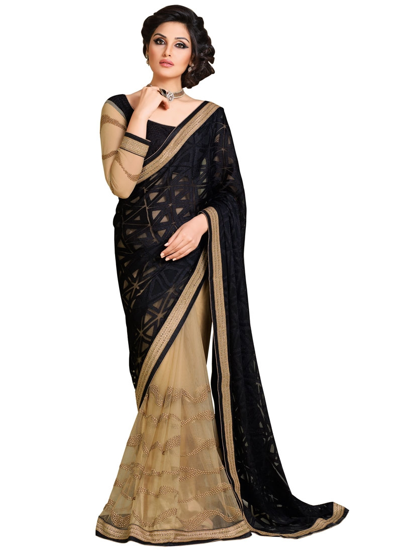 Masterly Black And Beige Color Half N Half Designer Saree