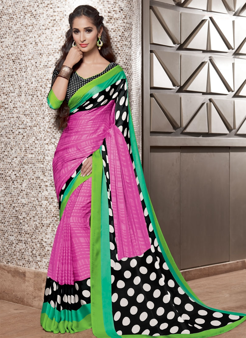 Masterly Black And Hot Pink Color Casual Saree