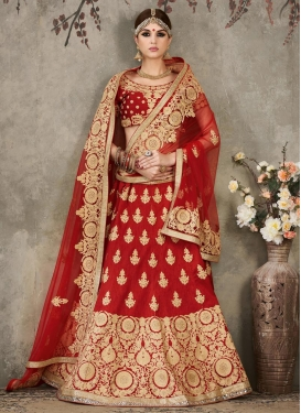 Masterly Booti Work Silk Designer Lehenga Choli For Bridal