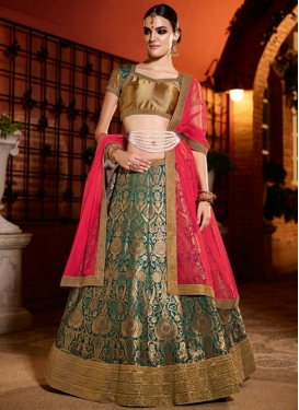 Masterly Bottle Green and Red Brocade A - Line Lehenga