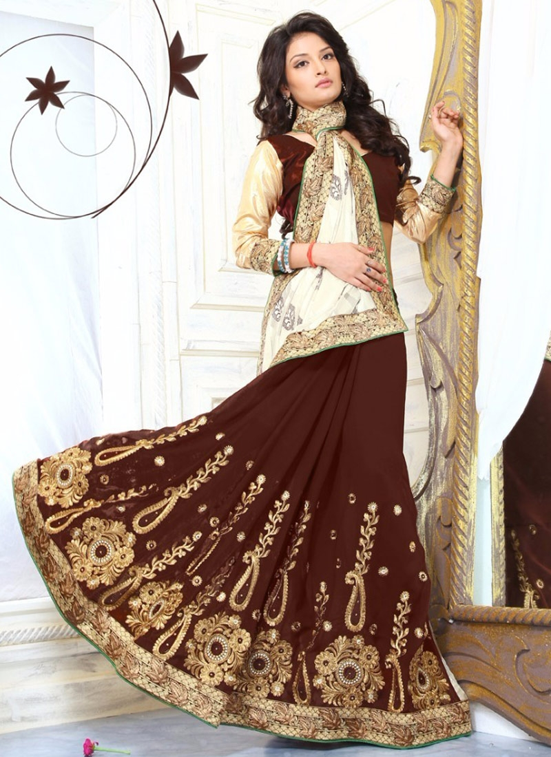 Masterly Brasso Georgette Resham Work Half N Half Party Wear Saree