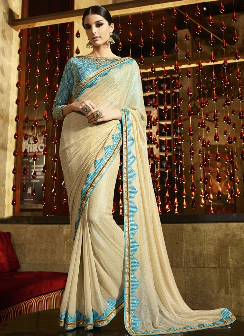 Masterly Cream Color Sequins Work Party Wear Saree