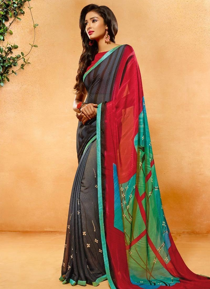 Masterly Crepe Jacquard Grey Color Casual Saree