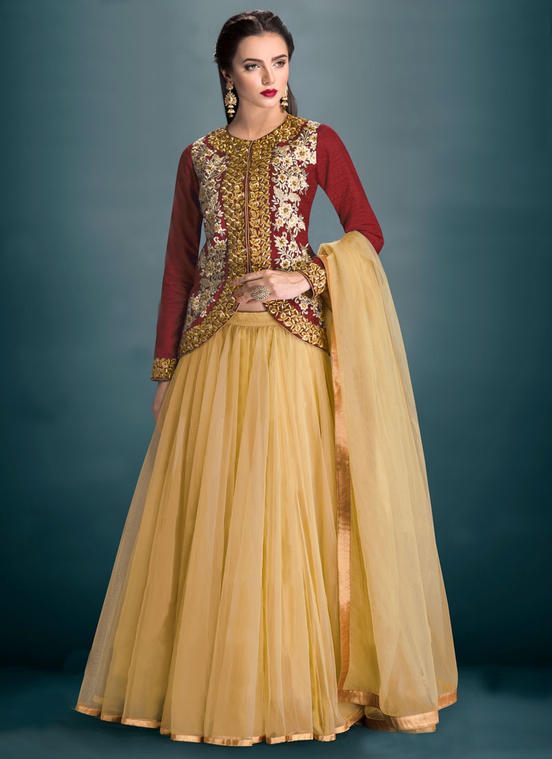 Masterly Embroidery Work Cream Color Party Wear Lehenga Choli