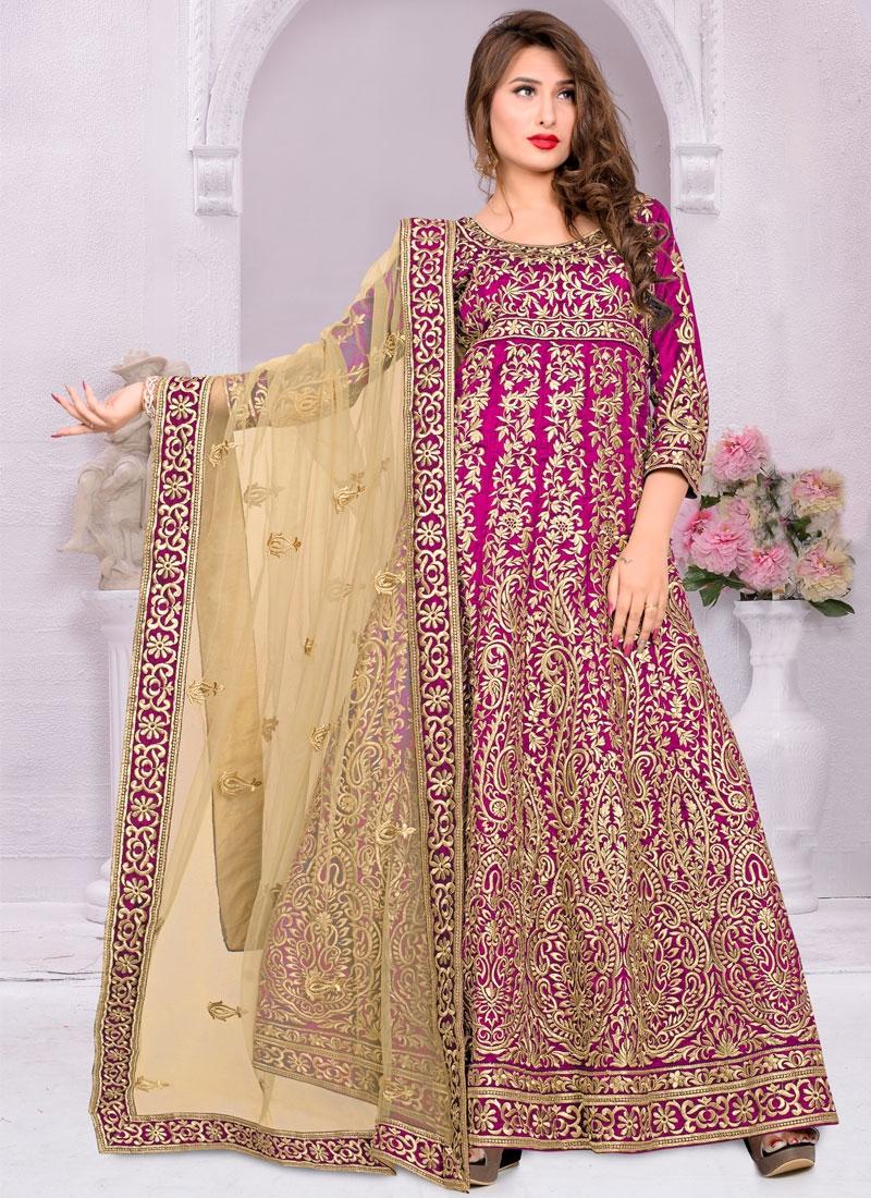 Masterly Embroidery Work Long Length Anarkali Salwar Kameez