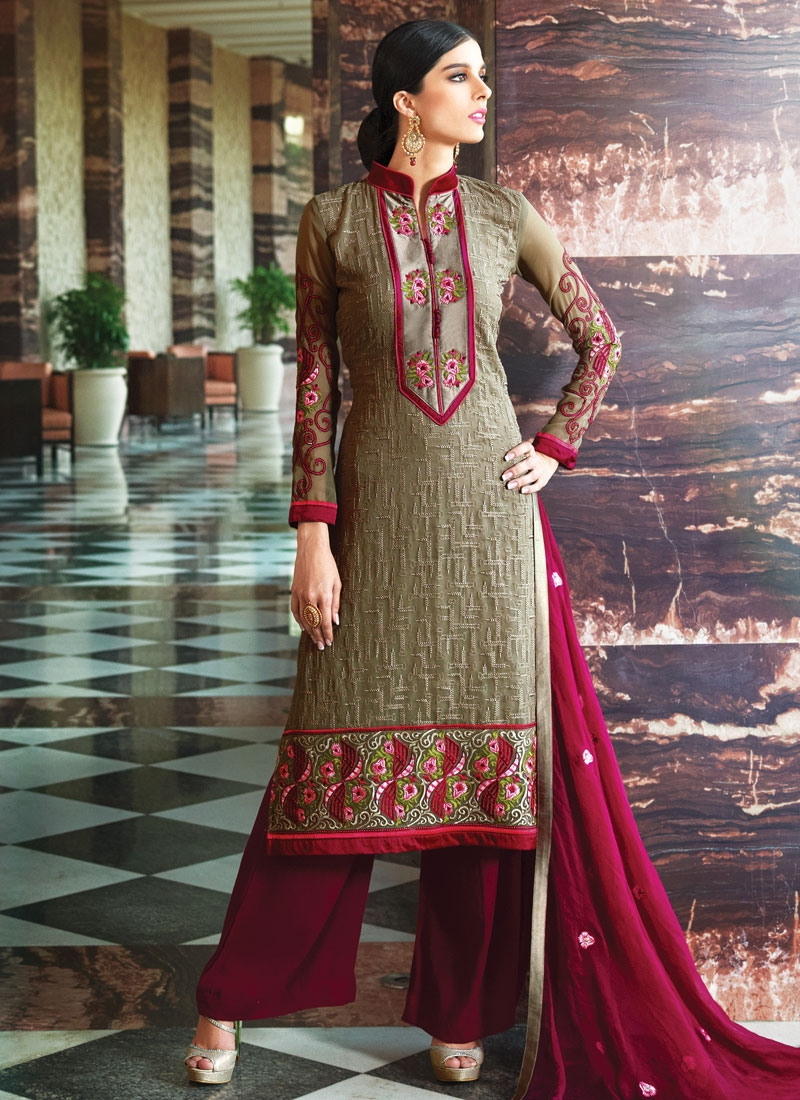 Masterly Embroidery Work Palazzo Style Party Wear Salwar Kameez