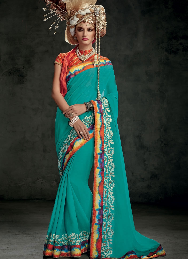 Masterly Faux Chiffon Resham Work Party Wear Saree