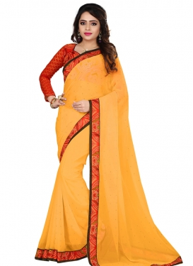 Masterly Faux Georgette Beads Work Casual Saree