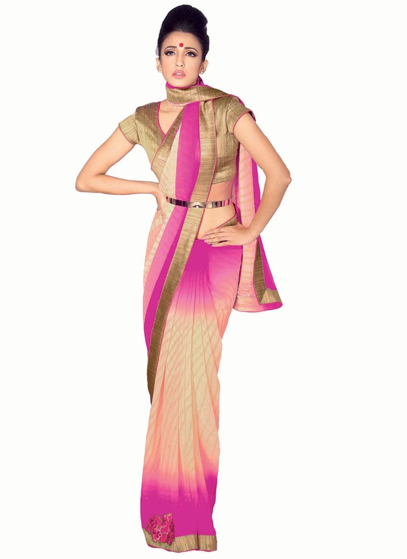 Masterly Faux Georgette Lace Work Party Wear Saree