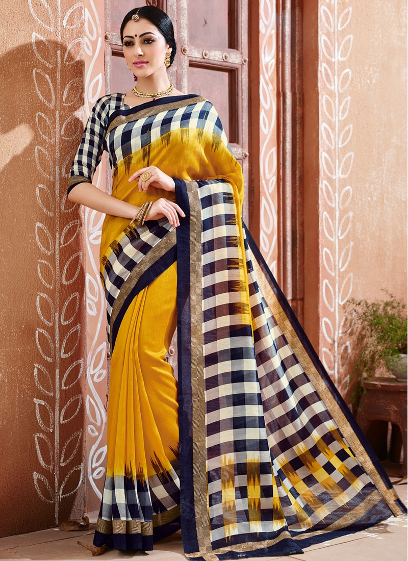 Masterly Gold Color Art Silk Casual Saree