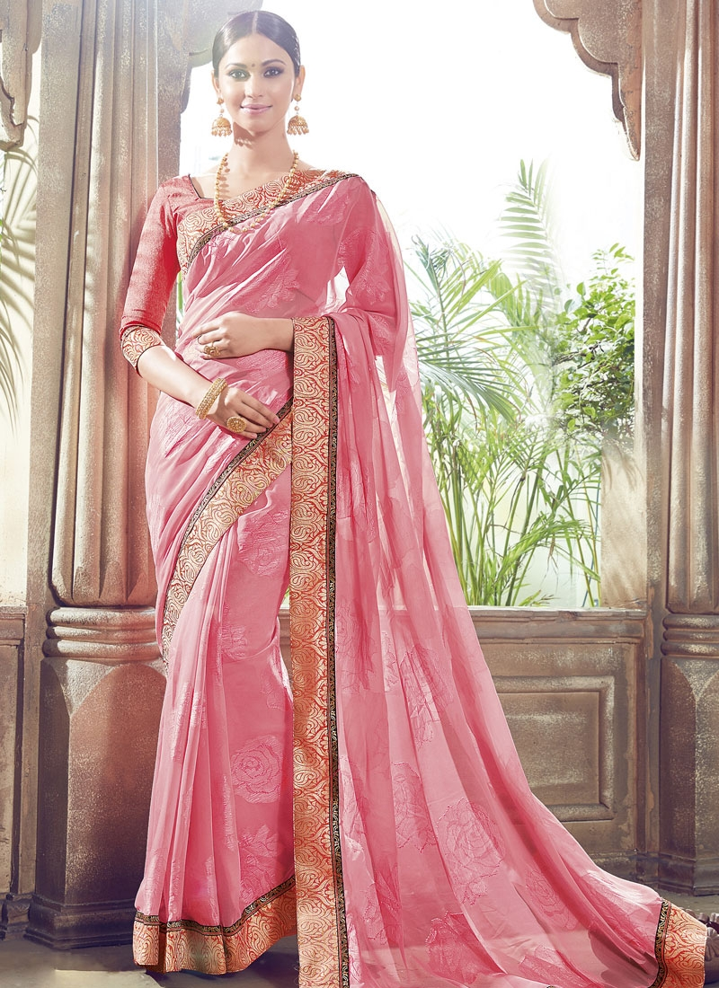 Masterly Lace Work Faux Georgette Party Wear Saree