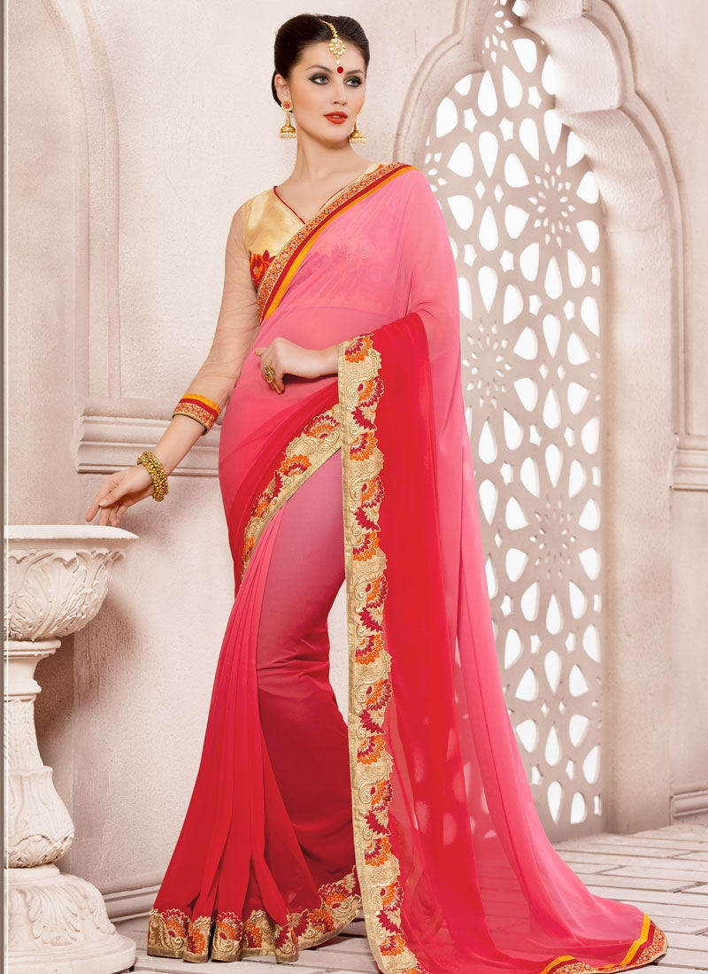 Masterly Lace Work Red Color Party Wear Saree