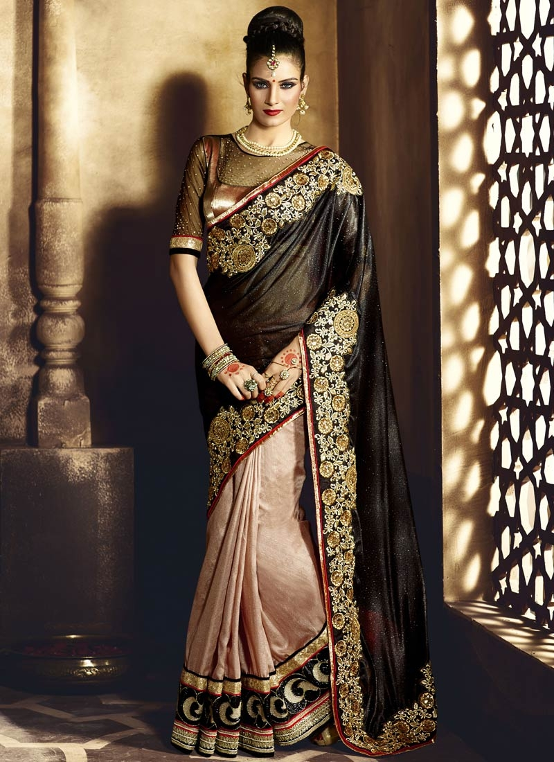 Masterly Lycra And Pure Silk Half N Half Wedding Saree
