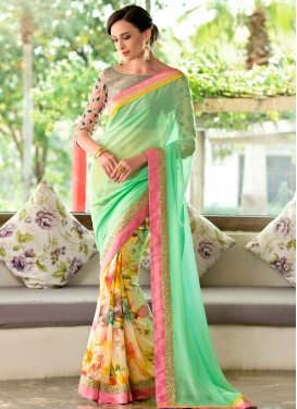 Masterly Mint Green And Cream Color Half N Half Party Wear Saree