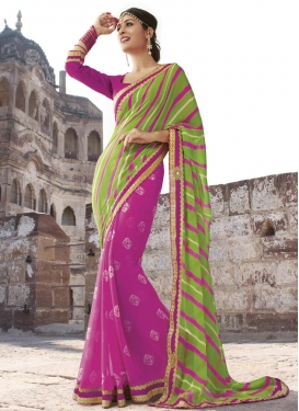 Masterly Mint Green and Rose Pink Beads Work  Half N Half Saree
