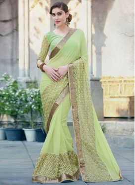 Masterly Mint Green Color Lace Work Designer Saree