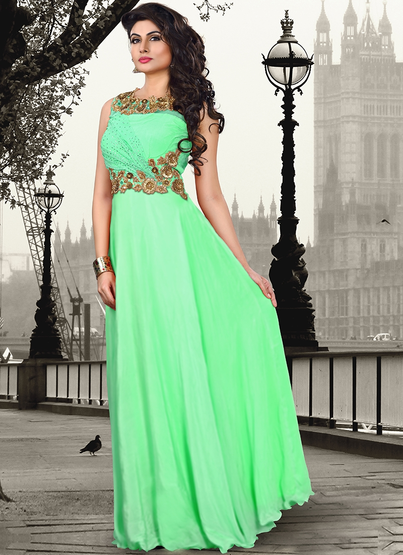 Masterly Mint Green Color Party Wear Readymade Gown