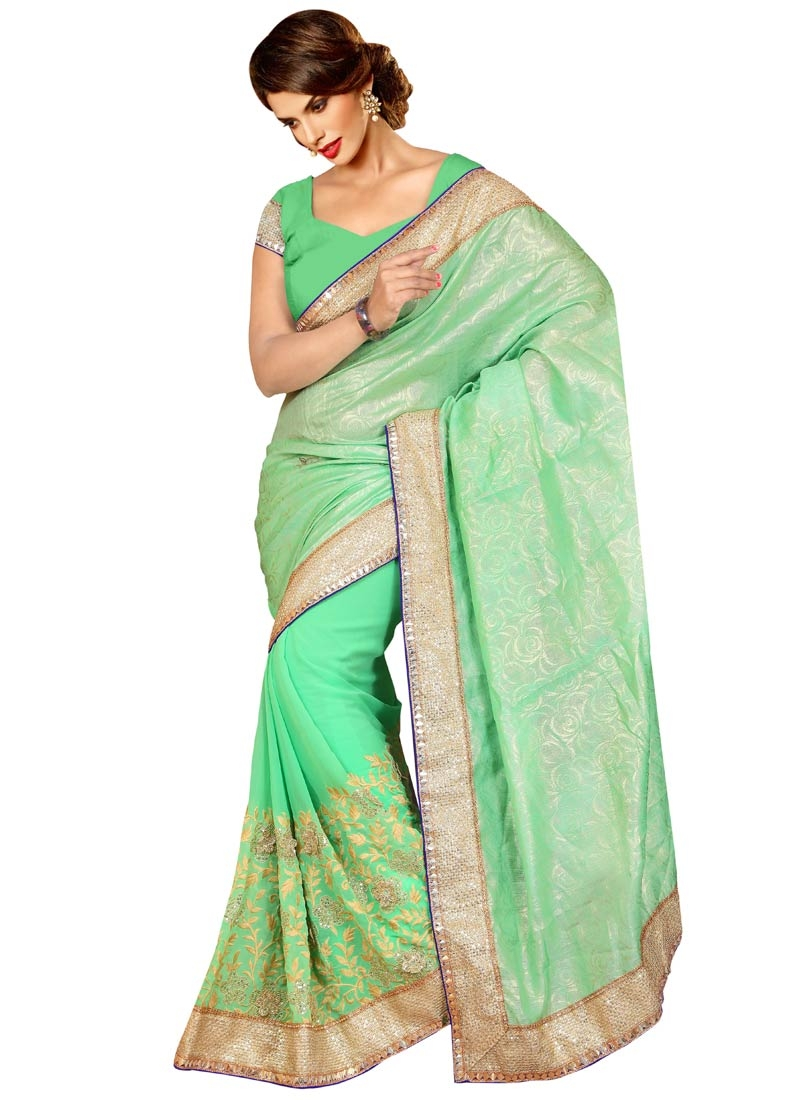 Masterly Mint Green Color Resham Work Designer Saree