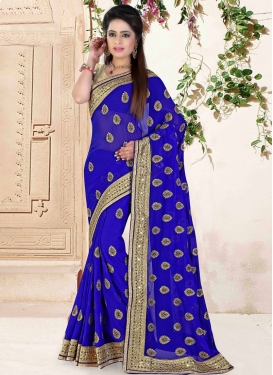Masterly Mirror And Stone Work Designer Saree