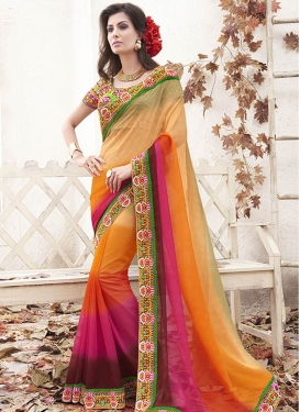 Masterly Multi Color Resham Work Party Wear Saree