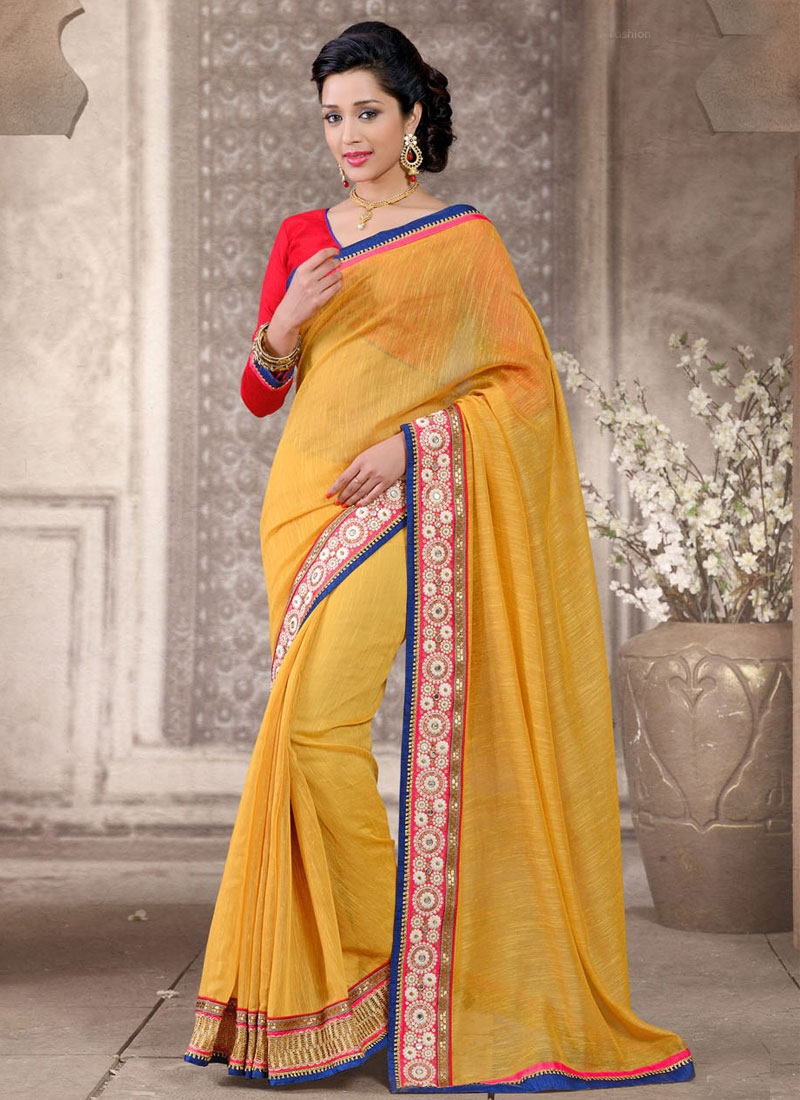 Masterly Mustard Color Resham Work Casual Saree