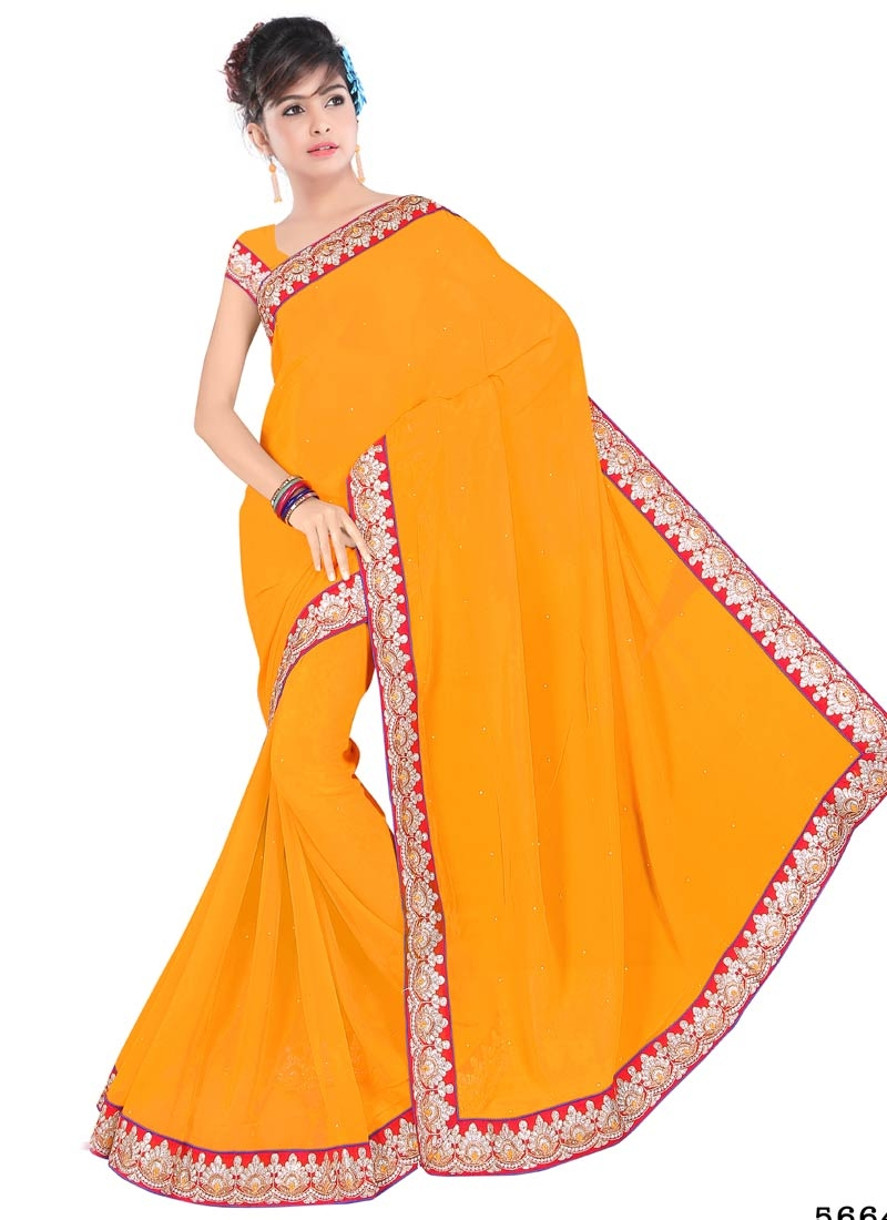Masterly Mustard Color Stone Work Party Wear Saree