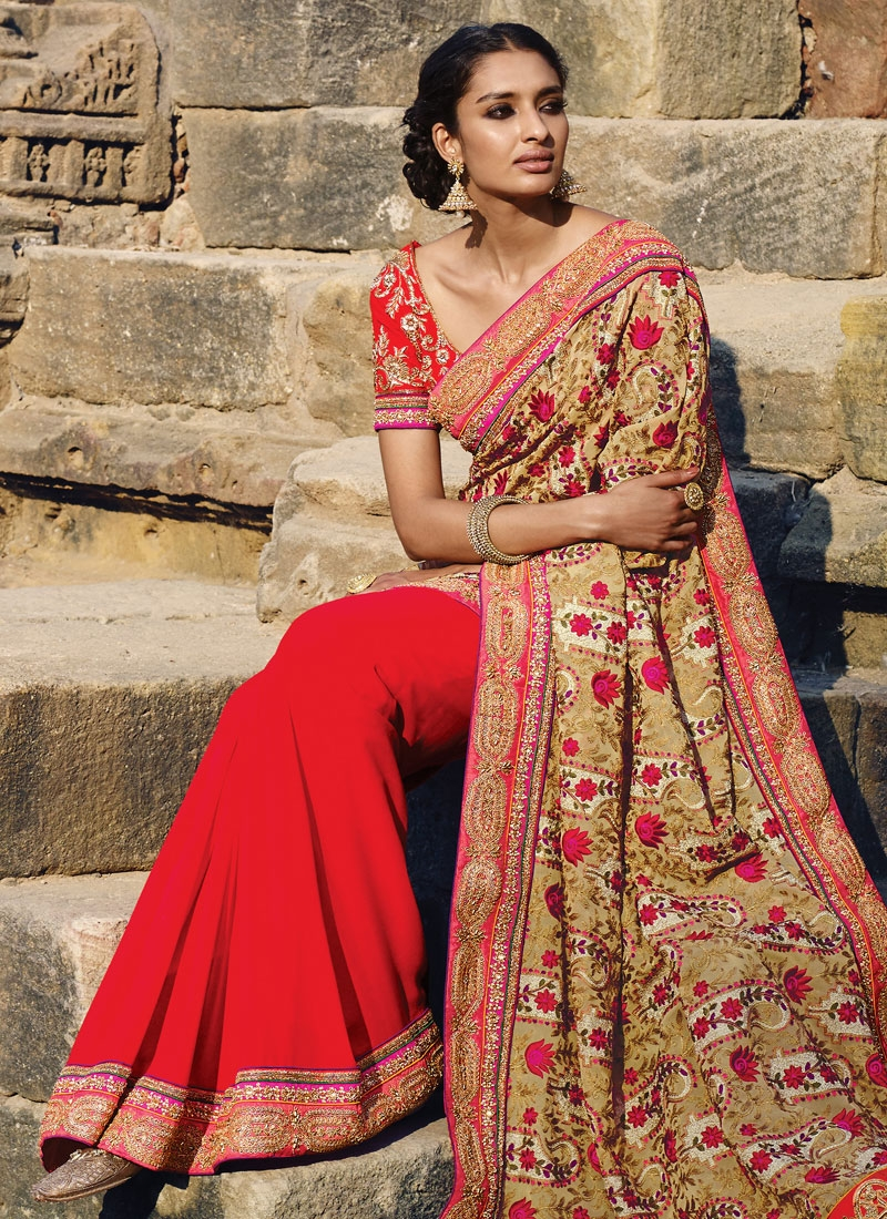 Masterly Patch Border Work Half N Half Designer Saree